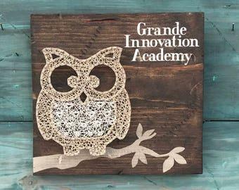 Owl String Art, Wall Art, Wood Sign, Rustic Home Decor, Custom String Art, FAST SHIPPING