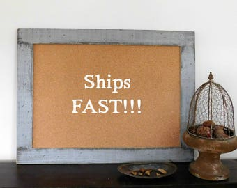 RUSTIC CORK BOARD - Notice Board - Message Center - 30x40 - Home Office Decor - Industrial - Shown in Medium Gray - Many Color Options