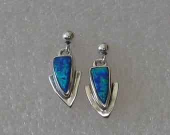 Small  Opal   Sterling  Post  Earrings
