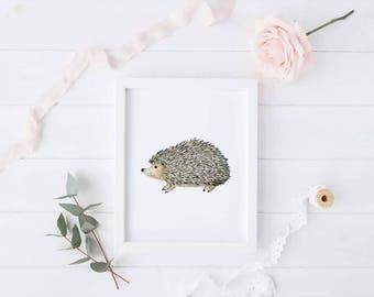 Hedgehog Print - Woodland Print - Nursery Print