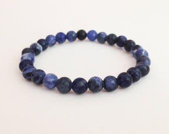 Blue sodalite bracelet 6 mm blue sodalite Blue stone bracelet Simple bracelet Woman bracelet
