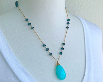 London Blue Topaz necklace with Peruvian Opal