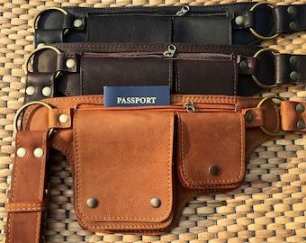 Leather Hip Bag | Fanny Pack | Festival Utility Belt Bag |  Steampunk | iPhone Pouch | Passport Travel Money Belt | Waist Bag  - The Hipster
