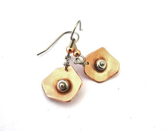 Mixed metals earrings, hammered copper circles, stainless steel finishing, stainless steel beads, mixed metals, sale, promo