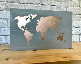 Gold home decor etsy rose gold world map world map wood sign not all who wonder are lost gumiabroncs Image collections