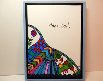 Thank You Card, Greeting Card, Handmade Original Card