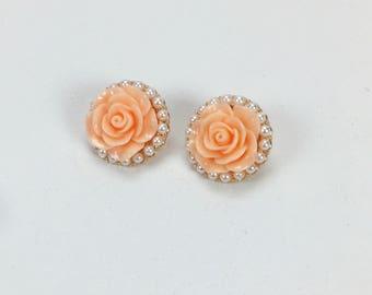 Vintage 1980s Peach Rose Pierced Earrings