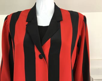 1980s Bold Vertical Black and Red Striped Albert Nipon Blouse--Sz 12 (SKU 10207CL)