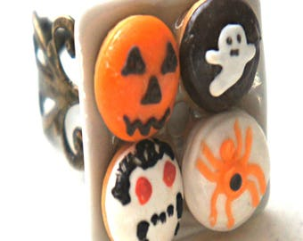 Halloween Donuts Ring- miniature food, food jewelry, donut ring, halloween ring