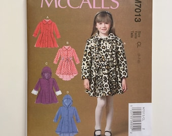 McCall's M7013 Sewing Pattern, Children's/ Girls' Coats and Belts. Pattern for Girls' Hooded Coat.  Girl's Jacket Pattern.