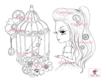 Digital stamp, Digi, Bird, Cage, Steampunk, Girl, Big Eyes, Fairytale, Fantasy Whimsical Coloring pages, Crafting Cardmaking. Bird in a cage