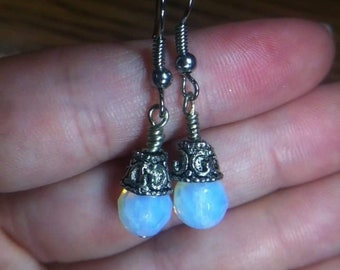 Faceted Opalite globe earrings