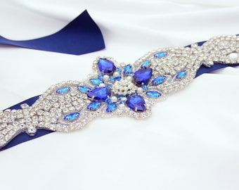 Blue Bridal Belt Wedding Belt Wedding Dress Belt Blue Rhinestone Belt Blue Bridal Sash Blue Sash Belt Something Blue Wedding Dress Sash