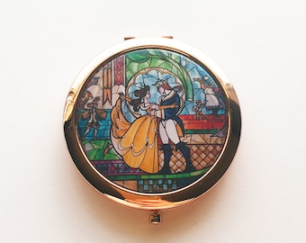 Beauty and the Beast Stained Glass Portrait Compact Mirror