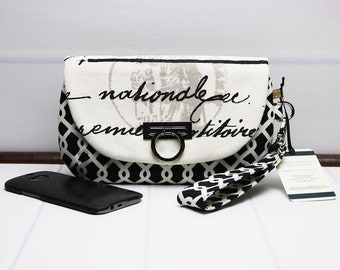 Iphone Zipper Wristlet - Smartphone Wallet - Clutch Purse - Cellphone Wallet - Flap Clutch - Wrist Strap Purse - Black Phone Wallet