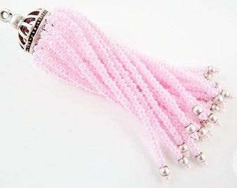 Long Baby Pink Beaded Tassel - Matte Silver Plated Brass - 1PC