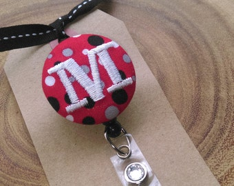 Monogram Badge Holder, Retractable Badge Reel. Polka Dot, RN, OT, LPN
