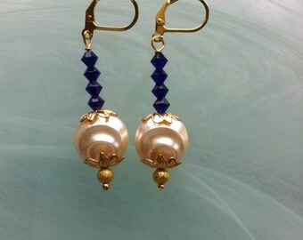 Earrings with a large baroque pearl pink and cobalt blue Swarovski crystal