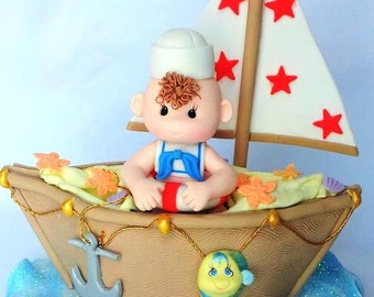 Nautical Cake Topper Sailboat Cake topper Baby Boy Cake Topper