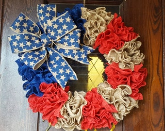 American Flag,Rustic Flag, Flag Wreath, Red White and Blue, Star, Burlap Flag Wreath, Fourth of July Wreath, Fourth of July, 4th of July