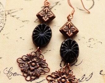 Dramatic Black Earrings, Copper Earrings, Romantic Long Earrings, Sunburst Czech Glass Jewelry, Vintage Style Jewelry, JewelryFineAndDandy