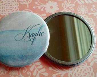 Ocean Watercolor Personalized Pocket Mirror