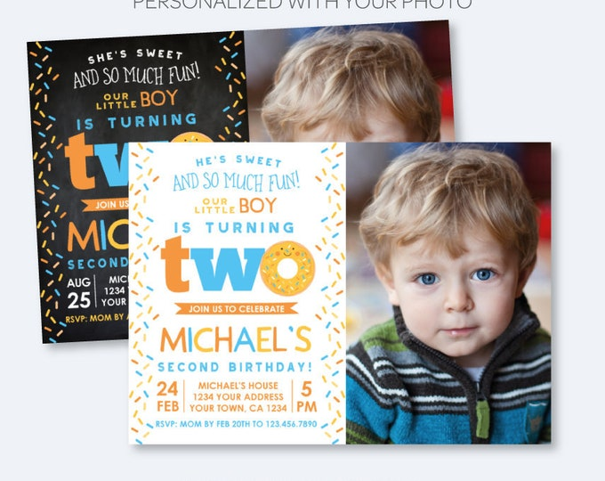 Donut 2nd Birthday Invitation with Photo, Sprinkle Birthday Invitation, Boy second Birthday Invite, Personalized Invitation, 2 options