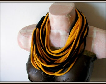 Yellow & Black Infinity Multi Strand T shirt Jersey Scarf
