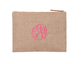 Monogrammed Burlap Accessory Bag, Burlap Personalized Carry All Organizer Zip Pouch - Embroidered Cosmetic Case -  Bridal Party Gift