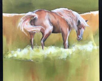 Horse Grassing    16 x 16     Original Watercolor Batik