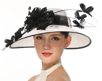 White with Black 3 Layers Kentucky Derby Hat, Church Hat, Wedding Hat, Easter Hat, Tea Party Hat Wide Brim Woman's Sinamay Hat