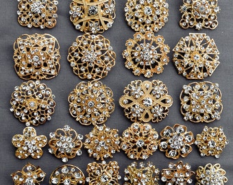 24 Gold Rhinestone Brooch Crystal Brooch FREE Shipping of 20.00 Order Wedding Brooch Bouquet Cake Decoration DIY Kit BR680