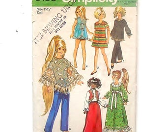 """Vintage 1970 Simplicity 15 1/2"""" Doll Clothes Pattern #9138 - Dress,Blouse,Maxi Skirt,Bolero,Nightgown,Tunic,Pants,Poncho - Cut & Complete"""