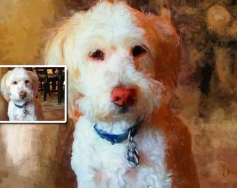 Portrait personnalisé de chien, portrait de chien, peint d'après photo, peint à la main – Portrait personnalisé à télécharger