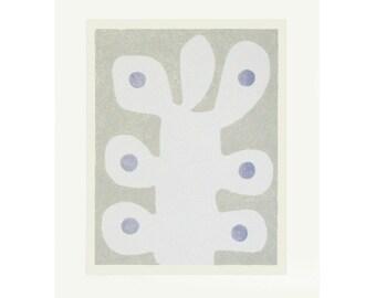 Large abstract original art, modern botanical, soft colours, handmade screenprint, modern wall decor by Emma Lawrenson.