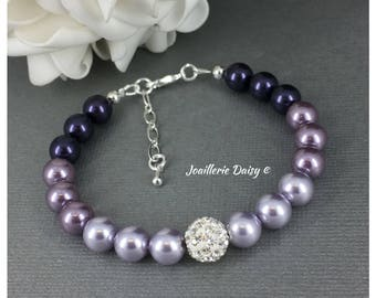 Ombré Bracelet Bridesmaid Gift Purple Bracelet Swarovski Jewelry Gift for Her Mother of Bride Mother of Groom Gift Lavender Wedding