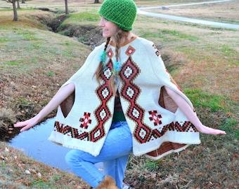Tribal Navajo Aztec Cape Vintage 1970s Sturbridge Geometric Festival Hippie Native American Southwestern Sweater Poncho Om Boho Knit Capelet