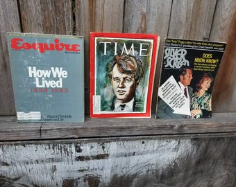Mixed Lot of 3 Vintage Magazines - Time Magazine (Sept 1966) - Esquire Fiftieth Anniversary Collector's Issue - Silver Screen (Nov 1971)