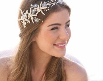 Beach Wedding Starfish and Pearl Wired Hair Vine, Nautical Wedding Headpiece, Destination Wedding Headband Beaded Tiara with Star fish