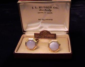 Vintage KREMENTZ Moonglow Cuff Links In Original Box