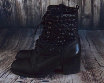 SH_009) Vintage black ankle boots with stitching