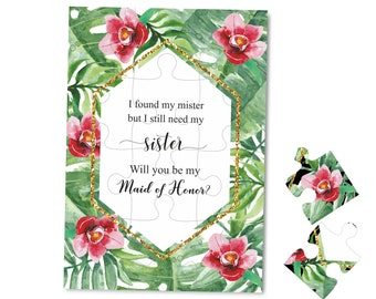 Tropical wedding invitation Geometric wedding invitation I found my mister but I still need my sister wedding proposal Maid of Honor puzzle