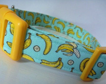 "Bananas Dog Collar - Food Dog Collar -Banandas on Turquoise - Boy/Girl Dog Collar-""Going Bananas"" - Free Colored Buckles"