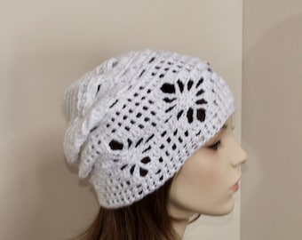 Slouchy Beanie Spring Beanie Sun Hat Women Hat Chemo Hat Slouchy Hat Summer Beanie CHOOSE COLOR White Mother's Day Gift under 50