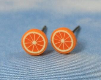 Tiny Orange Fruit Slice post earrings - citrus goodness in bright orange -Free Shipping USA