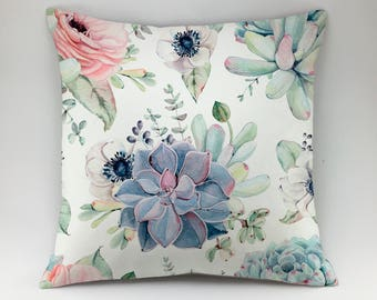 Succulent pillow cover Floral pillow Botanical pillow flower pillow Throw pillow cactus pillow accent pillow greenery pillow aloe pillow