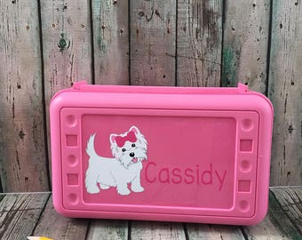 Personalized Pencil Box - Personalized Pencil Case - School Supply Box - Dog Pencil Box - Pencil Case - Plastic Pencil Box - Art Box
