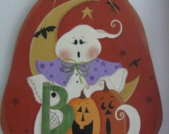 Halloween pumpkin wall decor, halloween pumpkin wall hanging, ghost wall hanging, ghost wall decor, gift for her, hostess gift,seasonal door