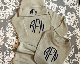 Coming Home Baby Gown Set. 3 piece monogrammed baby gown gift set.  Baby Boy or Baby Girl. White, Pink, Blue, Red, Black or Grey.