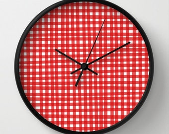 Red Gingham Wall Clock with Numbers, Red Clock for Kids